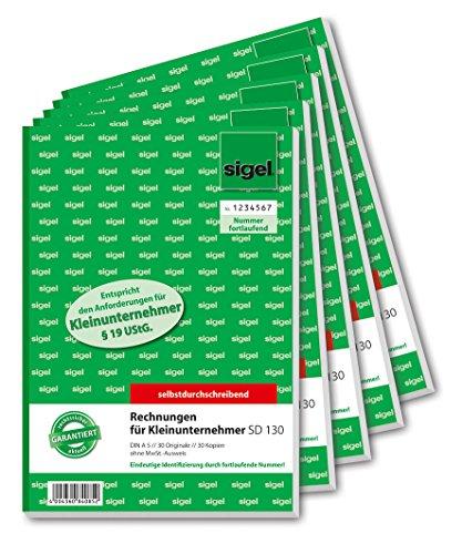 SIGEL SD130/5 Rechnungen für Kleinunternehmer A5, 2x30 Blatt, selbstdurchschreibend, 5 Stück