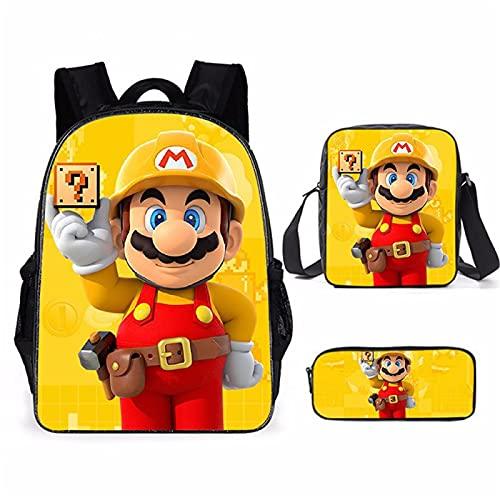 ZBK Juego de mochila escolar con diseño de Mario con bolsa de hombro y estuche para lápices, para estudiantes, niños, niñas, 12 colores