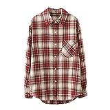 Wave166 Camisa a cuadros para mujer con bolsillos y botones, de manga larga, grande, abrigo, chaqueta moderna, elegante, corte holgado, abrigo a cuadros, Vino, M