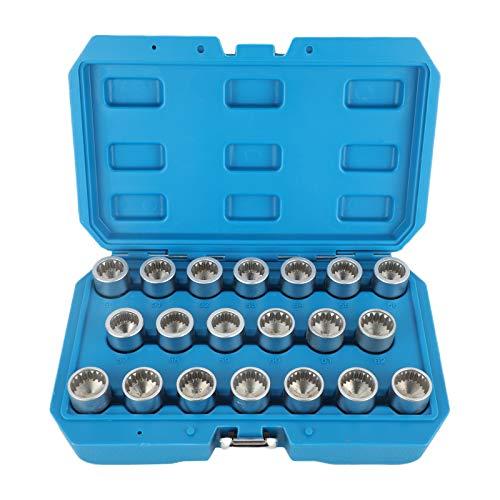 beley 20pcs Spline Wheel Lock Lug Nuts Key Socket for Porsche, Automotive Wheel Anti-Theft Screws Remover Socket Keys Remover Kit