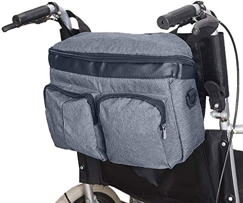 Wheelchair Backpack Bag Free Hands, Transport Chairs Side Organizer Storage Backpack Pouch Fits Walkers, Rollators,Scooters, Waterproof Walker Accessories Pouch(with Shoulder Strap)