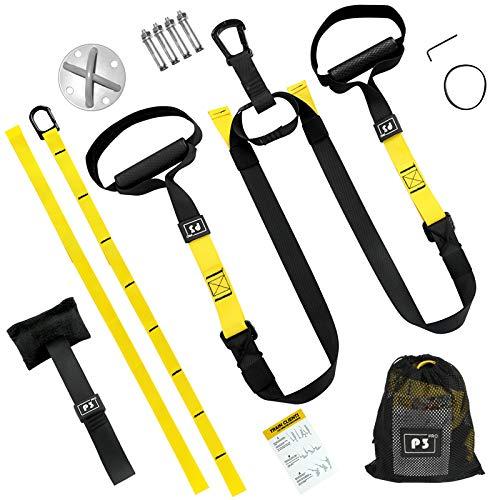 iToobe Set de entrenamiento con anclaje para puerta, ajustable, para gimnasio, hogar, soporte de techo, suspensión y correa de extensión, adecuado para interior y exterior