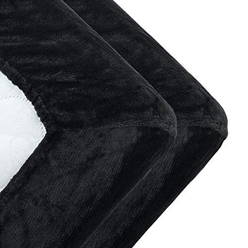 MALIKA kuschelige Cashmere-Touch Spannbettlaken Bettlaken Jersey Fleece Spannbetttuch Bett Flauschiges Laken, Farbe:SCHWARZ, Größe:2er Pack 90x200-100x200 cm