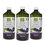 Benessence - Aloe Arándano Zumo de Aloe Vera con Arándano 1000 ml - Hecho en Italia - 3 x 1L