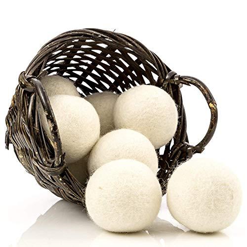 Paquete de 8 pelotas de lana para secadora, suavizante de tela natural para ropa de bebé, hojas de secado reutilizables