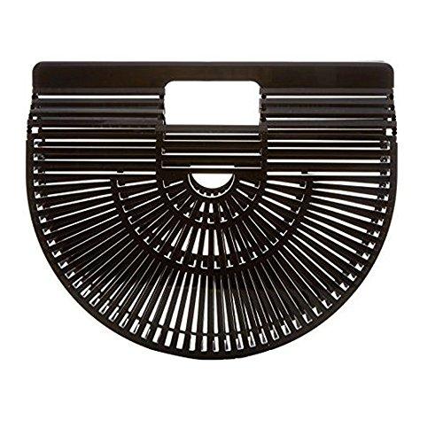 nobrand Mode Acryl Strand Handtasche Bambus Tasche Weiblich Rattan Stroh Tasche Draussen Kupplung Geschenk zum Frau (Groß, Schwarz)