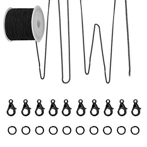 AFASOES 10m Kabelkette Kettenglieder Schmuck Schwarz Ketten zum Basteln Gliederkette Meterware Halskette mit 20 Karabinerverschluss 50 Biegeringe Link Kette Set Kabelketten für Schmuckherstellung