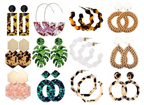 Gexo 12 Pairs Acrylic Earrings Statement Earrings for Womens Resin Drop Dangle Mottled Acrylic Hoop Earrings Polygonal Bohemian Earrings Fashion Jewelry Rattan Earrings for Girls
