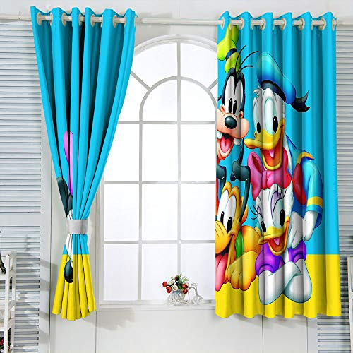 Grommet Curtains Mic-key Min-nie Mouse Curtains for child living room W72 x L63 Inch Window Curtain Fabric