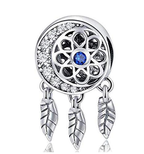 MEETCCY 100% Authentic 925 Sterling Silver Bead Spiritual Dream Catcher Dangle Pendant Charms Openwork Flower Feather Lucky Charms Fit DIY Bracelets (B)