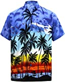 LA LEELA Men's Regular Fit Palm Tree Button Up Short Sleeve Hawaiian Shirt XL Blue_W140
