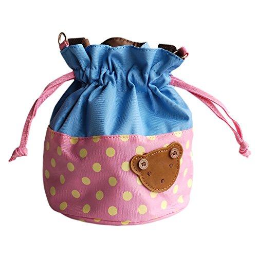 Blancho [Bear-pink] Applique enfants Tissu Art Seau/sac Bento Lunch Box/sac de shopping (5,7* 6.3* 7.8)