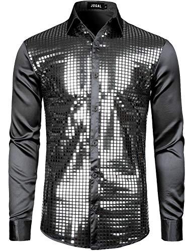 JOGAL Herren Pailletten Hemd 70er Kurzarm Disco Party Kostüm, M, Schwarz Silber