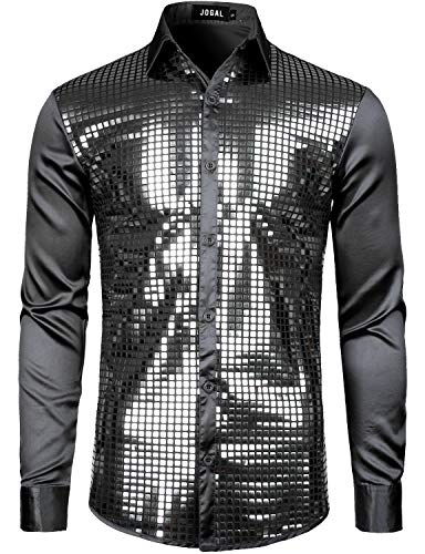 JOGAL Herren Pailletten Hemd 70er Langarm Disco Party Kostüm X-Large Schwarz