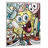 Spongebob Duschvorhang 152,4 x 182,9 cm, wasserabweisender Duschvorhang mit Haken, Polyester, exquisiter Druck, waschbar