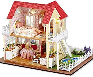 Rylai 3D Puzzles Miniature DIY Dollhouse Kit Princess Cottage Series Dolls Houses Accessories with Furniture LED Music Box Best Birthday Gift