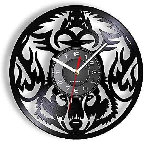 mbbvv Reloj de Pared con Registro de Vinilo con luz Led de 7 Colores, Talla de Lobo con iluminación...
