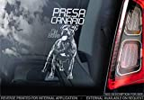 Sticker International Pegatina Presa Canario - Adhesivo Coche - Perro Firmar Ventana, Parachoques Pegatina Regalo - V003 - Blanco/Claro - Interno Marcha Atrás Estampado, 220x100mm