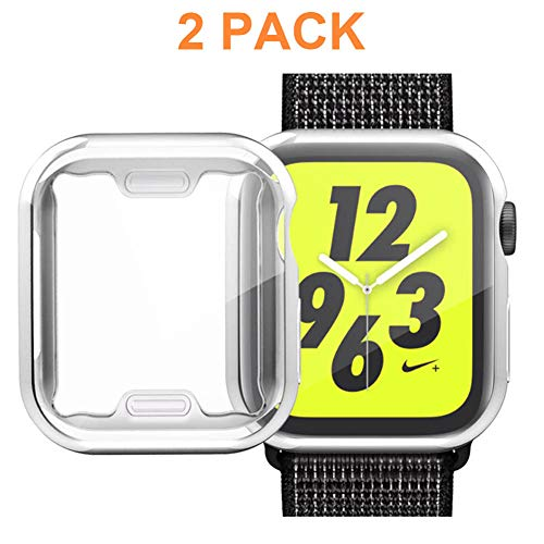 KINPEI for Apple Watch Series 4 Screen Protector Case 44mm, Waterproof TPU All-Around Protective Ultra-Thin HD Clear Cover for iwatch [2-Pack] (Silver, 44mm)