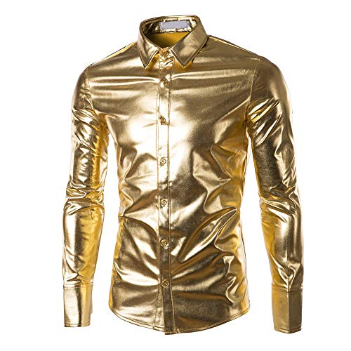 Sweatshirts Herren Gold Herbst Casual Hip Hop Langarm Leder Kapuzenmantel Jacke Streetwear SANFASHION (GoldC, 3XL)