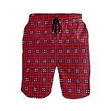 NO Bañador para hombre con bolsillos a cuadros rojos, secado rápido, pantalones cortos de playa con cintura elástica y forro de malla, multicolor, L