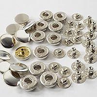 バネホック 3サイズ 10組 レザークラフト ボタン バネホックボタン (15mm, シルバー)