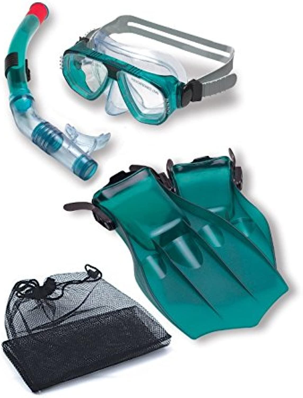 水スポーツRecreationalグリーンマスク、シュノーケルとフィン水泳プールと水シュノーケリングセット