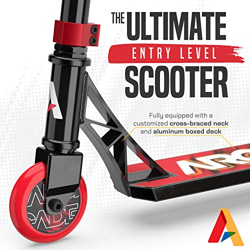 Arcade Rogue Pro Scooters for Kids 8 Years and Up (6 - 12 Years Old) – Beginner Kick Scooter / Stunt Scooter for Kids Freestyle, School Commute or Learn Trick Scooter Moves (Red/Black)