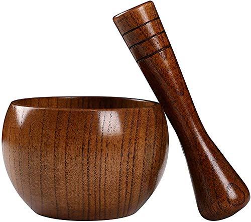 Ensemble de mortier et pilon en bois à l'ancienne/réservoir de pilon de médecine/broyeur à main/pour moudre les épices, l'ail, les noix, les herbes, le pesto