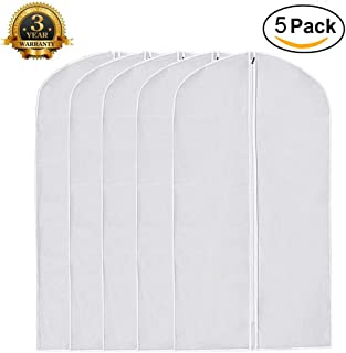 White Garment Bag Pack of 5, Clear Full Zipper Dust Proof Suit Cover Breathable Garment Clothes Bags for Travel Dance etc. (Extra Large: 24''×48'', White 5 Pack)