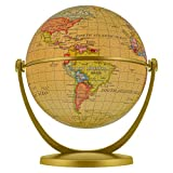 TCP Global 4' Old World Style Globe, 360 Rotation - Compact Gold Mini Globe, Swivels, Tilts in All Directions - Fun & Educational, Learn Earth's Geography - Home, School, Office, Shelf, Desk Display