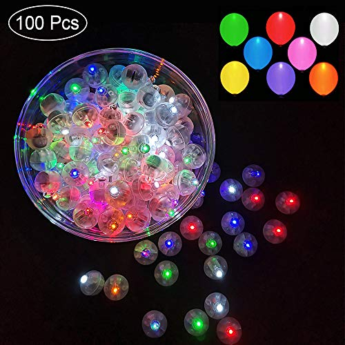 100pcs Multicolor LED Balloon Light,Round Led Flash Ball Lamp for Paper Lantern Balloon Birthday Party Wedding Decoration