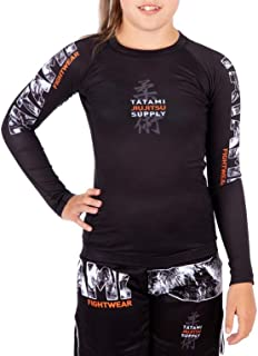 Tatami Fightwear Tropic Black Long Sleeve Kids Rash Guard Base Layer BJJ Tights MMA Workout Fitness Sport Clothing