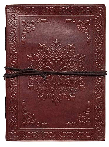 Indiary embossed notitieboek van echt leer en handgeschept papier - 10x15 cm flower