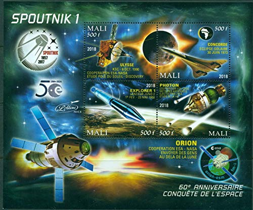 Mali 2018 60th anniversary conquest of space Sputnik miniature sheet 4 values #5 ulysse concorde explorer photon orion space
