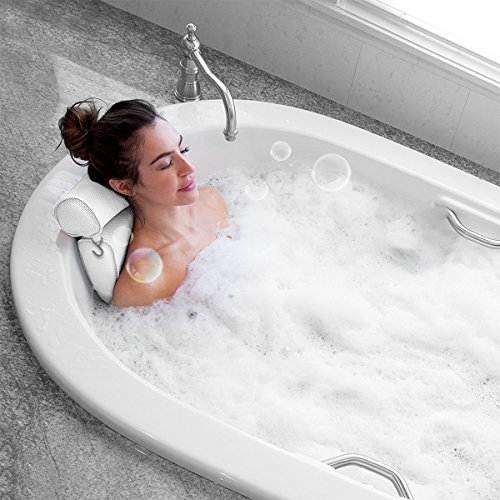 Idle Hippo Bath Pillow Bathtub Pillow with 6 Upgraded Non-Slip Suction Cups, Extra Thick Spa Bathtub Cushion for Head, Neck, Back and Shoulder Support, Fits Jacuzzi
