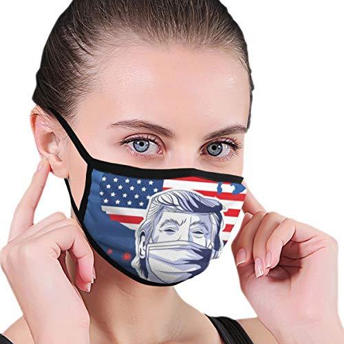 Nonbrand Fashion Face Protection 2 Layers Outdoor Trump Wearing Face by(6) Coronavirus Reusable Washable Ear Loop Neck Gaiter Bandana Men Women Kids Black