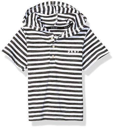 DKNY Boys' Big Short Sleeve T-Shirt, Space Dye White Heather, 18/20
