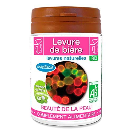 Levure de bière revivifiable BIO | 60 gélules | Beauté De La Peau - Féminité | 320 mg dosage 100% naturel sans additif et non comprimé | EKI LIBRE