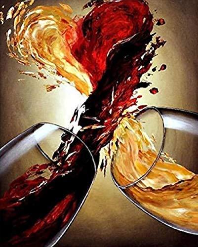 QWEFGDF Pintar por números Adultos Copa de Vino Tinto Lienzos para Pintar por números con Pinceles y Colores Brillantes 40x50cm
