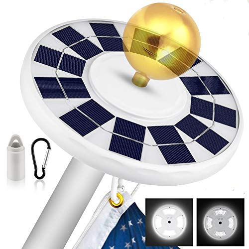 Solar Flag Pole Light, New 128 LED Super-Bright Solar Powered Flagpole Light, 2500mAh Waterproof Solar Light for in-Ground Poles 15-20 Ft, Lasts for 8-10 Hours, Auto On/Off Night Lighting