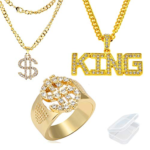 PPX 3 Stück Hip Hop Rapper Strass Set Dollarzeichen Ring und Kette and HipHop Rapper Kette Necklace KING Strass mit einer transparenten Box -Satter Goldlook