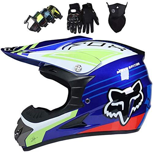 Casco de moto, casco de MTB de cara completa, casco cruzado de motocicleta de quad todoterreno, casco de motocross con guantes/gafas/máscara con diseño de zorro para jóvenes/adultos