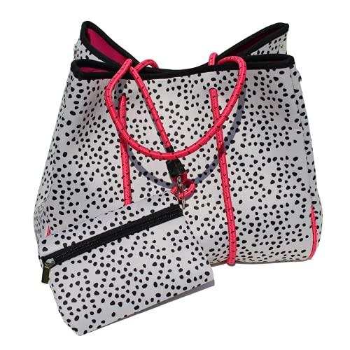 Bolso de neopreno de leopardo   Bolsa de playa, bolsa de gimnasio   Bolsa de cremallera a juego incluida   Blanco con diseño de puntos negros