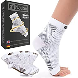 FIT NATION - (2 pairs of compression socks / ankle bandage for effective compression when running & sport - compression stockings for women & men white L / XL