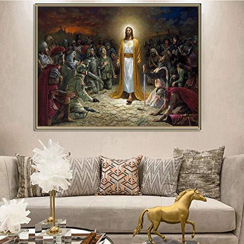wZUN Jesucristo Salva al Mundo Carteles e Impresiones Lienzo Arte decoración Cuadros de Pared para Sala de Estar decoración del hogar 60x90 Sin Marco