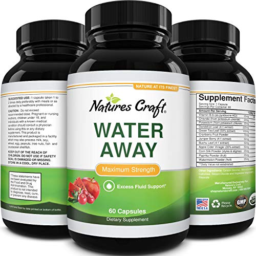 Water Away Pills Diuretic Supplements - Water Retention Pills for Kidney Cleanse Water Balance with Vitamin B6 Potassium Chloride Dandelion Root and Green Tea Extract - Water Pills for Men and Women