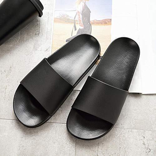 FastDirect Summer home pantofole da uomo e donna semplici in bianco e nero scarpe antiscivolo bagno pantofole paio indoor uomini e donne pantofole con suola spessa 11.5 Nero