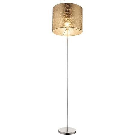 Lampadaire AMY avec LED E27 - Abat-jour en tissu - Diamètre : 40 cm - Couleur : doré marbré pour une lumière chaleureuse
