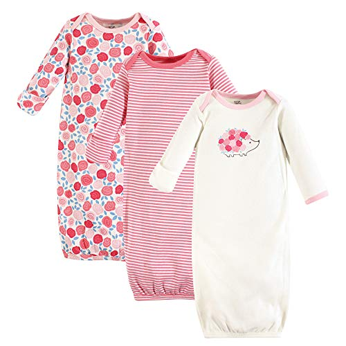 Touched by Nature baby girls Organic Cotton Gowns Sleepers, Rosebud, 0-6 Months US